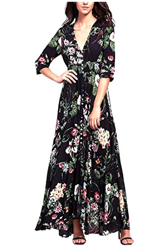 Confortables Floral Profond Col V Tribal Femmes Tunique Manches 3/4 Noir Robe Longue