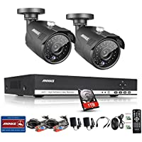 ANNKE 8CH 1.3MP Security Camera System 1080N Digital Video Recorder with 1TB Hard Drive and (2) 1280x960p 1500TVL Outdoor Fixed Weatherproof Cameras, HDMI Output, QR Code Scan to Remote View