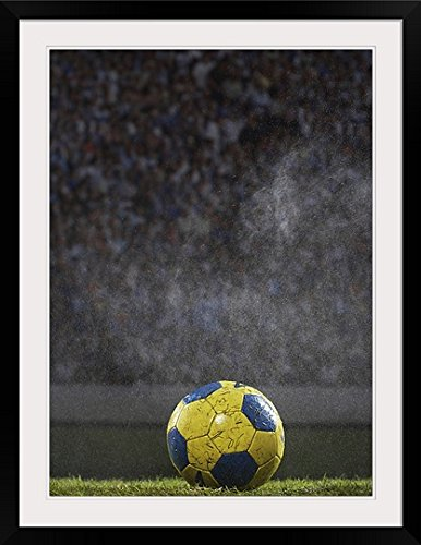 GreatBIGCanvas ''Soccer Ball on Field In Rain '' Photographic Print with black Frame, 26'' X 36'''' by greatBIGcanvas