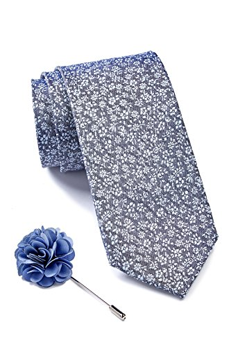 Ben Sherman Men's Silk Floral Tie & Lapel Pin Set, OS, Blue