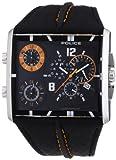 Police Men's Tripod PL.13497JS/02 Black Leather Quartz Watch with Black Dial