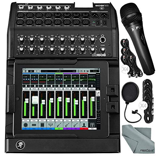 Mackie DL1608 iPad-Controlled 16-Channel Digital Live Sound Mixer Bundled with Xpix Handheld Microphone, Mic Pop Filter, Cables, and Fibertique -