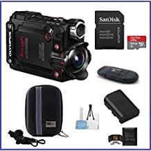 Olympus Stylus Tough TG-Tracker Action Camera (Black) Pro Bundle, Includes: 64GB MicroSDXC Class 10 Memory Card, Case, Spare Battery and more ...