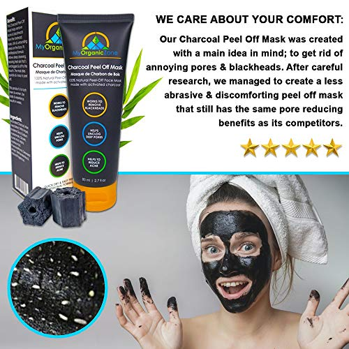 Charcoal Peel Off Mask, Black Face Mask for Men and Women, Blackheads Remover and Extractor, Black Activated Charcoal Mask for Face, Deep Pore Cleansing Mask (2.7 fl. oz./80ml)