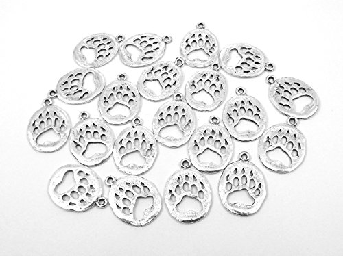 Set of Twenty (20) Silver Plated Pewter Bear Paw Charms
