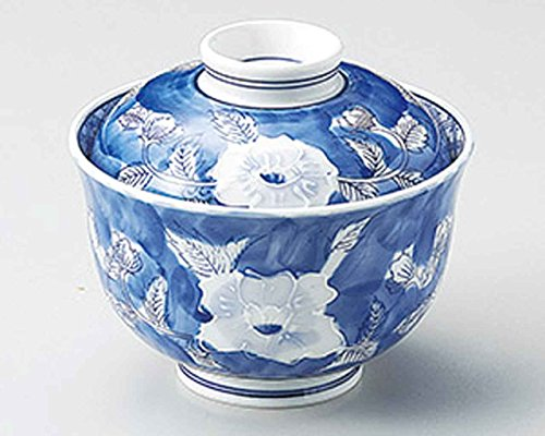 (Itchin Peony 4.9inch Set of 5 Medium Bowls with covers White porcelain Made in Japan)