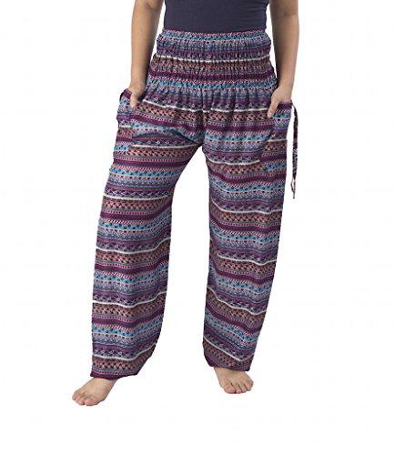 Lannaclothesdesign Women's Smocked Waist Paisley Print Rayon Yoga Harem Pants (M, Purple Paisley)
