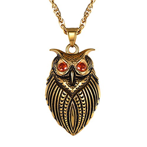 PROSTEEL Owl Necklace,Bird Necklace,Owl Pendant & Chain,Vintage,Retro,Protection Symbol,Red Cubic Zirconia,Men Jewelry,18K Gold Plated,Stainless Steel,22''+2'',PSP2862J