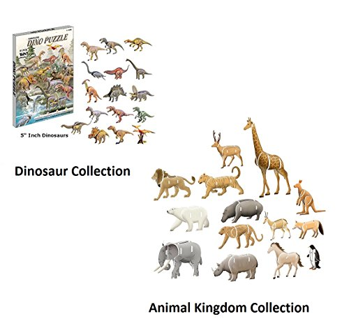 Top Race 3D Puzzle, 3 Pack of Dinosaur and Animal Set Puzzles, No Glue, No Scissors, Easy to Assemble. Set of 3 Puzzles
