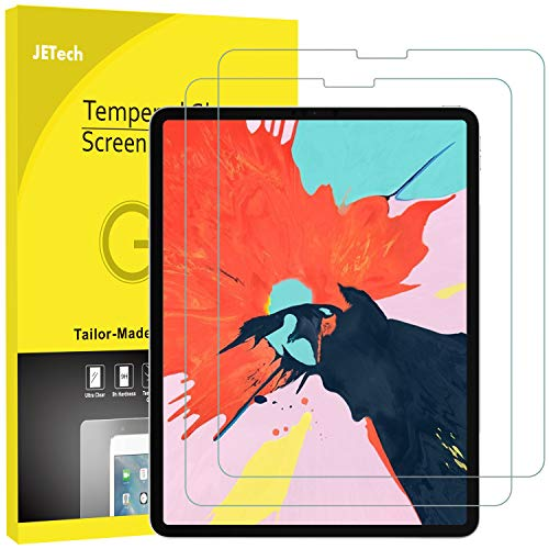 JETech 2-Pack Screen Protector for Apple iPad Pro 12.9-Inch (3rd Generation 2018 Model, Release Edge to Edge Liquid Retina Display), Face ID Compatible, Tempered Glass Film