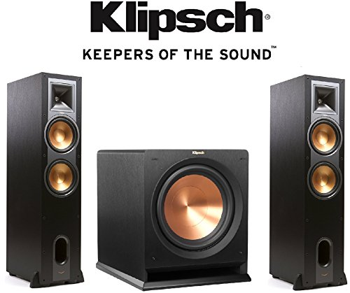 12' 400w Subwoofer ((1 Pair) Klipsch R-28F Dual 8-Inch Floorstanding Speaker (Brushed Black) + Klipsch R-12SW Powerful 12'' 400 watts Subwoofer Bundle)