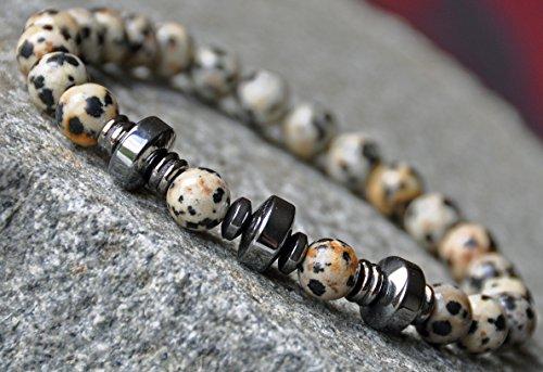 Prosperity, Confidence, Strength Mens Mala Bracelet, Dalmatian,Hematite, Buddha Meditation Bracelet, Boho Zen Bracelet, Japa Mala, Reiki Gemstone Bracelet, Mantra Bracelet
