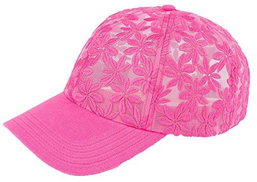 (H-6053-24 Floral Print Baseball Cap - Sheer Daisy (Hot Pink))