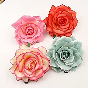 Artificial Flower Big Silk Blooming Roses Head Wedding Decoration DIY Party Festival Home Decor Wreath Gift Scrapbooking Craft Flower 8pcs/lot 10cm 34