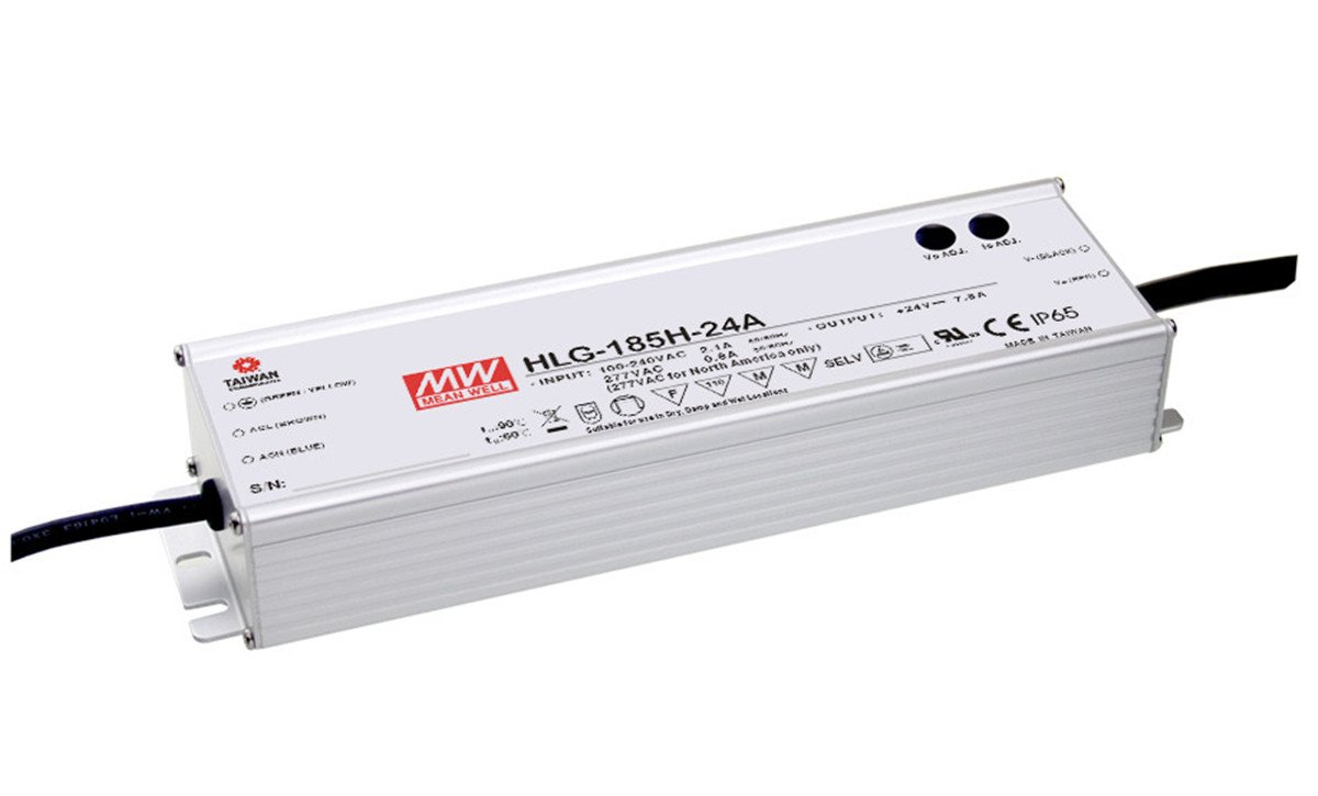 MEAN WELL LED Driver Single Output Switching Power Supply 54 Volts @ 3.45 Amps 27-54 Volts Model A HLG-185H-54A 185W
