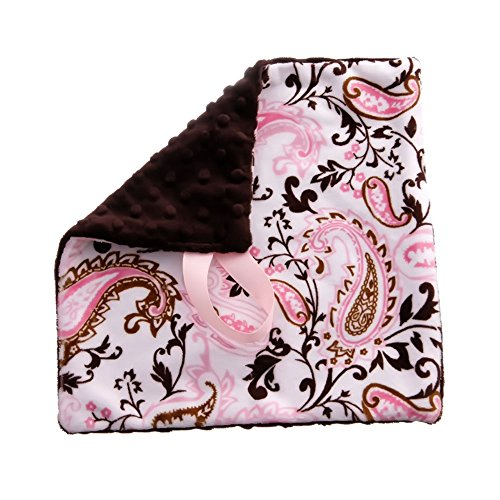 (BBEmerald Paisley Baby Pacifier Blanket, Pink)
