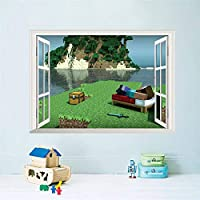 Wall Sticker Christmas3D Window Lake Scenery Minecraft Game Wall Stickers Decals For Kids Room Decoration Diy Boy Bedroom Mural Art Pvc Posters