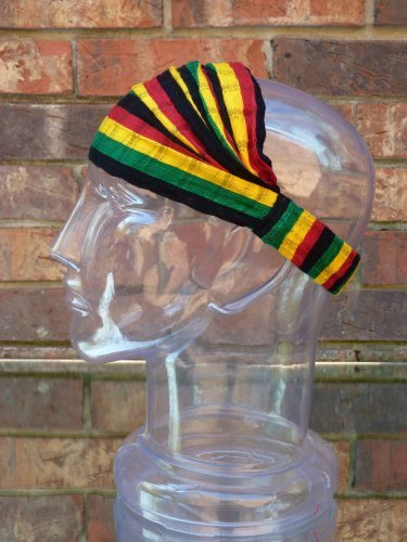 Rasta Reggae Headband. Handwoven Head Wrap. Elastic Cotton Head Scarf.