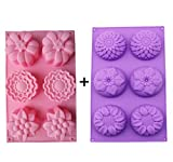 Kakasogo 2 PCS 6 Cavity Assorted Flower Shapes Silicone Soap Mold forHandmade DIY Cake Chocolate Cupcake Biscuit Bath Bomb Bread Muffin CandleIce Cube Making Mould Tool Set(Pink and Purple)
