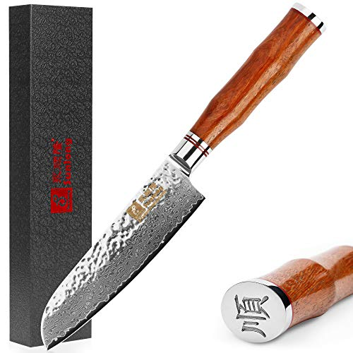 (Sunlong 5 Inch VG10 Damascus Santoku Knife Professional Kitchen Cutlery Knives Damascus Utility Knife SL-DK1043R)