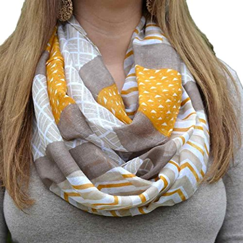 Scarf,Han Shi Women Long Soft Shawl Wrap Print Colorful Scarves Stole Cover Up (L, Khaki)