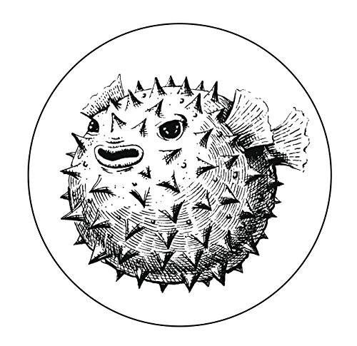 Divine Designs Black and White Angry Puffer Blow Fish Icon Vinyl Decal Sticker (4