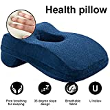 WER Bamboo Charcoal Memory Foam Cushion Pillow Slow Rebound Desk Pillow Nap Sleeping Pillow Infused Office Nap or Stomach Sleeper Pillow with Hollow Design Ideal