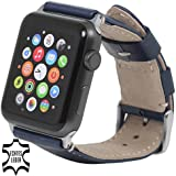 StilGut iWatch Band, Replacement Italian Leather Strap for Apple Watch 42 mm, Blue