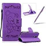 Case For Samsung Galaxy S5,Smart Case for Samsung Galaxy S5,Herzzer Stylish Cute Bear Don't Touch My Phone Design PU Leather Wallet Case Stand Flip Case with Credit Card Slot for Samsung Galaxy S5,Purple