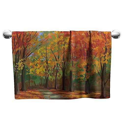 DUCKIL Bathroom Hand Towels Woodsy Forest North Woods Falling Leaves Fall Park Road Autumn Leaves Country Extra Long Bath Sheet 39 x 20 inch Yellow Orange Mustard Green Brown - Falling Leaves Bath Towel