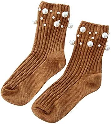 Medias para mujer, Calcetines de algodón transpirables con perlas ...