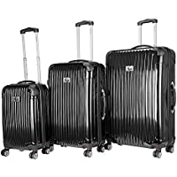 Chariot Paola 3-Piece Hardside Spinner Luggage Set (Black)