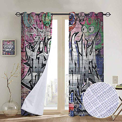 NUOMANAN Window Blackout Curtains Brick Wall,Graffiti Grunge Art Wall Several Creepy Underground City Urban Landscape Print, Multicolor,for Room Darkening Panels for Living Room, Bedroom 84