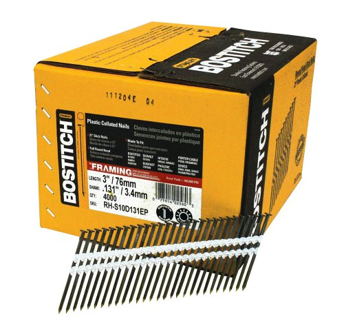 BOSTITCH RH-S10D131EP Round Head 3-Inch by .131-Inch by 21 Degree Plastic Collated Framing Nail (4,000 per Box) by BOSTITCH