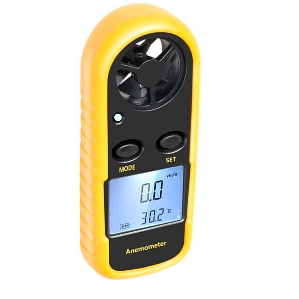 Anemometer, Digital LCD Wind Speed Meter Gauge Air Flow Velocity Thermometer Measuring Device with Backlight for Windsurfing, Sailing, Kite Flying, Surfing Fishing Etc. (Mini Anemometer) (Yellow)