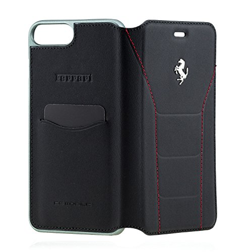 Ferrari 488 - Booktype Case - Genuine Leather - Red Stitches - Black - Silver Logo iPhone 7 Plus