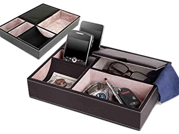 Fineway - Caja organizadora de almacenamiento de 5 compartimentos de piel para hombre, ideal para teléfonos móviles, relojes, carteras, monedas, ...