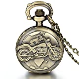 JewelryWe Fathers Day Gifts Vintage Bronze Motorcycle Motorbike Moto Pocket Watch Antique Necklace Pendant 31.5 Inch Chain Mens Gift (with Gift Bag)