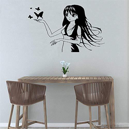 Tsbest Vinyl Wall Decal Wall Stickers Art Decor Anime Manga Butterfly Kids Girl Room
