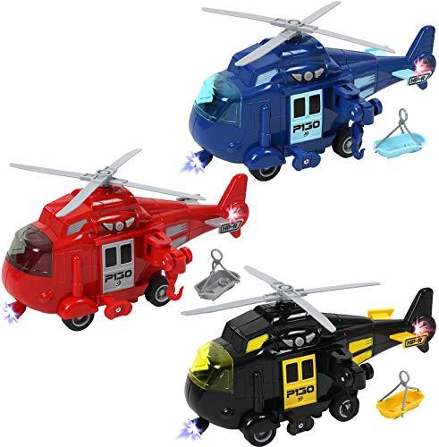 TEGANPLAY3 팩 마찰 전원 구조 헬리콥터 장난감 조명과 소리와 유아를위한 푸시 앤 이동 장난감 소년과 소녀를위한 설정