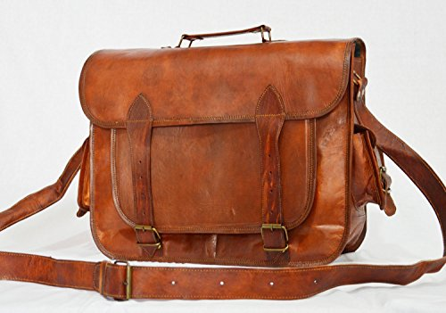 Real leather handmade messenger brown natural strong vintage goat hide bag india by thehandicraftworld