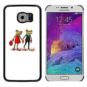 iKiki Tech / Estuche rígido - Love Cute Frogs Married White Minimalist - Samsung Galaxy S6 EDGE SM-G925
