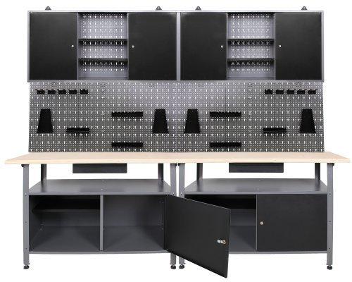 Werkstatt Werkstatteinrichung Werkbank Werkzeugschrank und Lochwand mit Haken