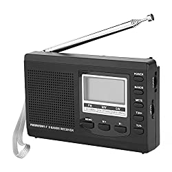 Fosa Portable Mini Radios FM/MW/SW Receiver with Digital Alarm Clock FM Radio Receiver(Black)