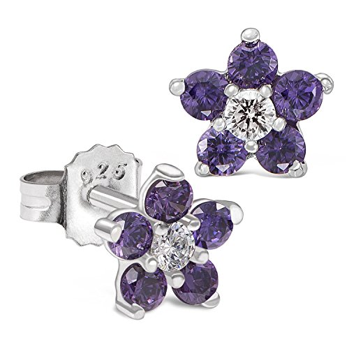 (Sterling Silver Flower Stud Earring with Simulated Birthstone CZ for Girls (February))