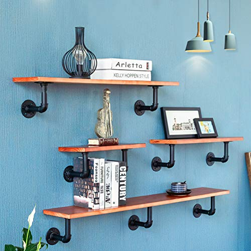 BLIKA 8Pcs 6 Inch L Industrial Black Pipe Bracket Wall Mounted for Shelving Heavy Duty,Wrought Iron Metal Rustic Pipe Shelf Brackets for Custom Floating Shelves, Vintage Furniture Decorations