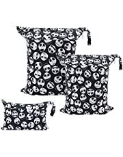 ALVABABY 3 Pack Baby Cloth Diaper Wet Dry Bags Waterproof Reusable with Two Pockets Travel Storage Bags Cosmetic Bags Handbags Wash Bags Beach Pool Daycare Soiled Baby for Swimsuits or Wet Clothes 3L-YA132
