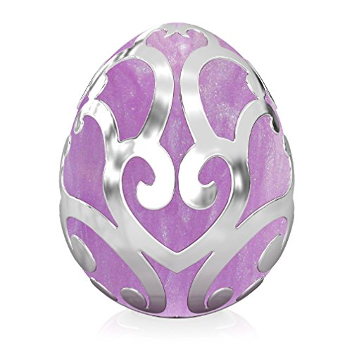 Authentic BELLA FASCINI Silver Scroll Easter Egg Bead Charm - Fits European Style Bracelets - Purple