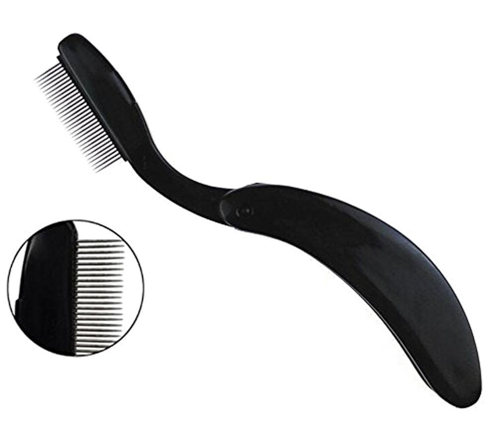 Professional Folding Stainless Steel Teeth Eyelash Comb - Portable Eyebrow Brush Shaper Brow Groomer Mascara Comb Lash and Brow Makeup Brush Beauty Tool (Black) erioctry
