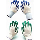 7 Pairs Pack SKYTREE Gardening Gloves, Work Gloves , Comfort Flex Coated, Breathable Nylon Shell, Nitrile Coating, Women's Medium Size, Green/Blue